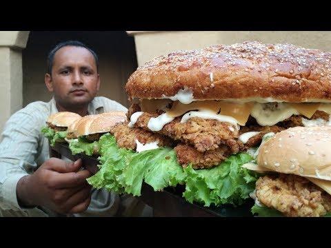 Zinger Burger Recipe KFC Style At Home | Chicken Zinger Burger | Village Food Secrets
