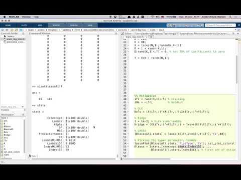 Lecture 21: LASSO, Ridge and OLS in Matlab