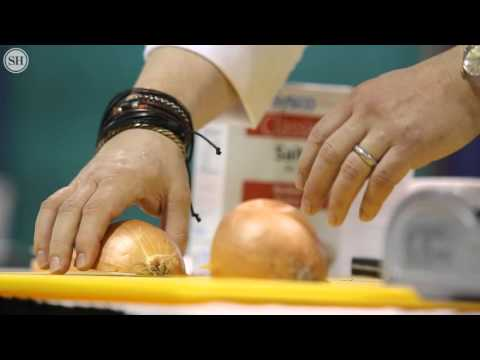 Chef Tom Ramsey show the right way to cut an onion