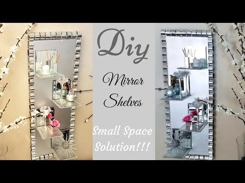 Diy Wall Decor Mirror/Glass Display Shelves| Small Space Solutions with Dollar Tree Items!