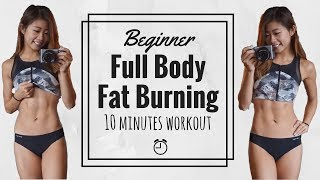 10 min Beginner Fat Burning HIIT Workout | Full Body No Equipment Routine