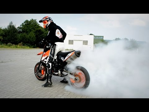 SUPERMOTO KILL THE TIRE | Burnout Explosion | KTM 690 SMC