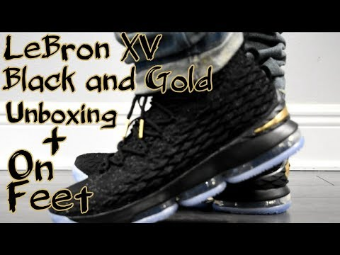 8a686fa13773 LeBron XV black and gold unboxing and on feet