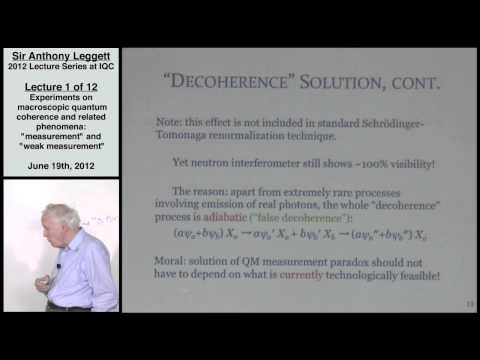 Experiments on Macroscopic Quantum Coherence (Lecture 1) - Anthony Leggett 2012