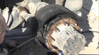 Changing brakes on a big truck. See new video, easier, better. (link in description below)