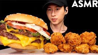 ASMR DOUBLE CHEESEBURGER & CHICKEN WINGS MUKBANG (No Talking) EATING SOUNDS   Zach Choi ASMR