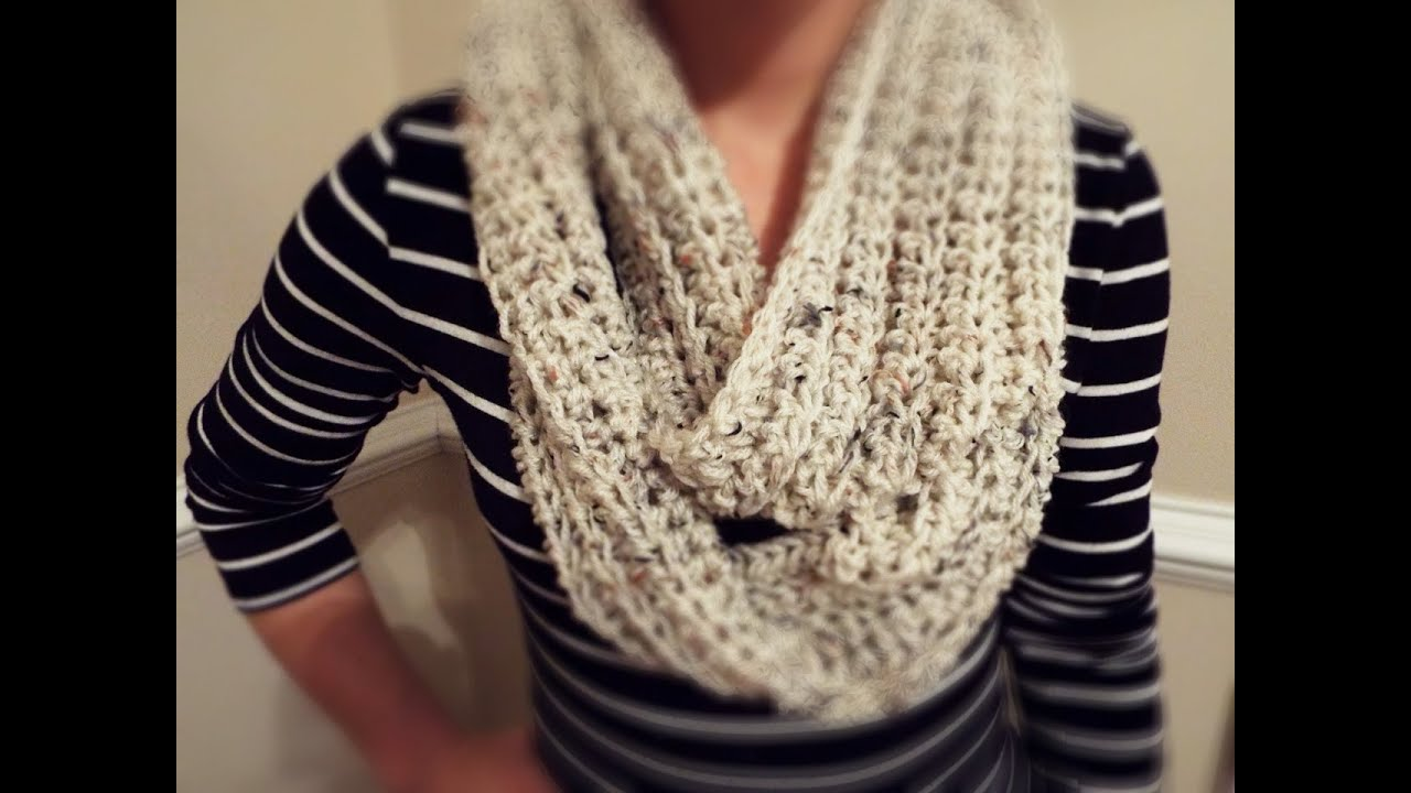 Youtube Crocheting Scarves : How To: Crochet Ribbed Infinity Scarf - YouTube