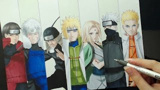 Speed Drawing - 7 HOKAGES (Naruto)