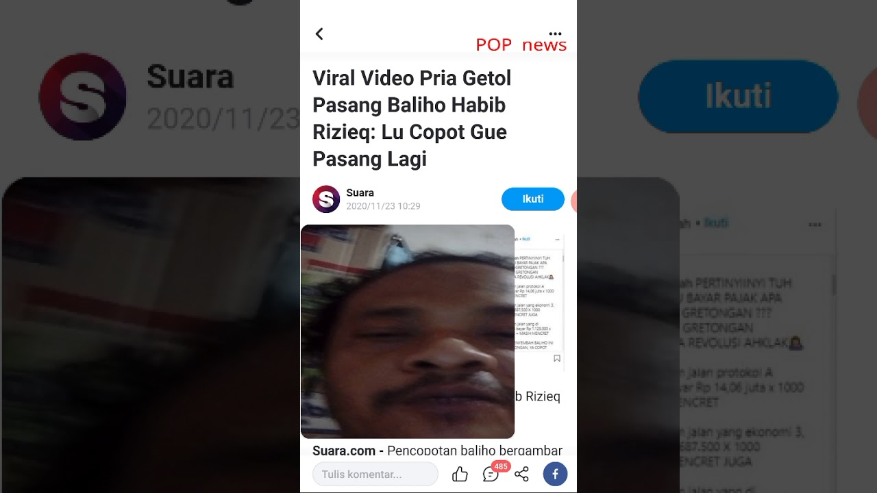 Download Viral Video Pria Getol Pasang Baliho Habib Rizieq: Lu Copot Gue Pasang Lagi
