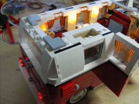 lego camping bus 10220 mit led beleuchtung youtube. Black Bedroom Furniture Sets. Home Design Ideas