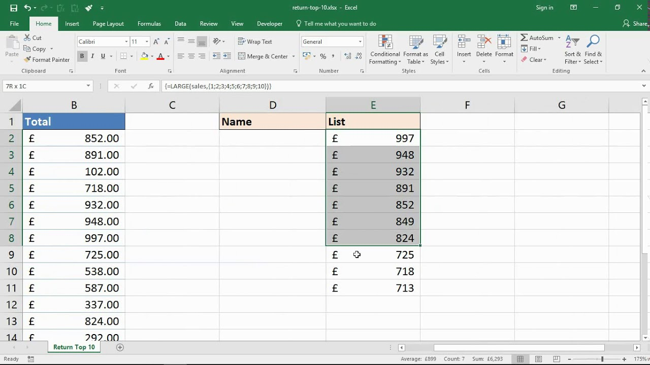 Top 20 Values with One Excel Formula