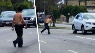 Man Seen Throwing Rocks Tries to Hijack Bus