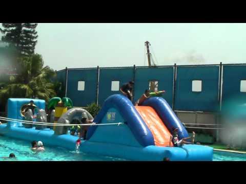 Inflatable jumbo castle at POC swimming pool