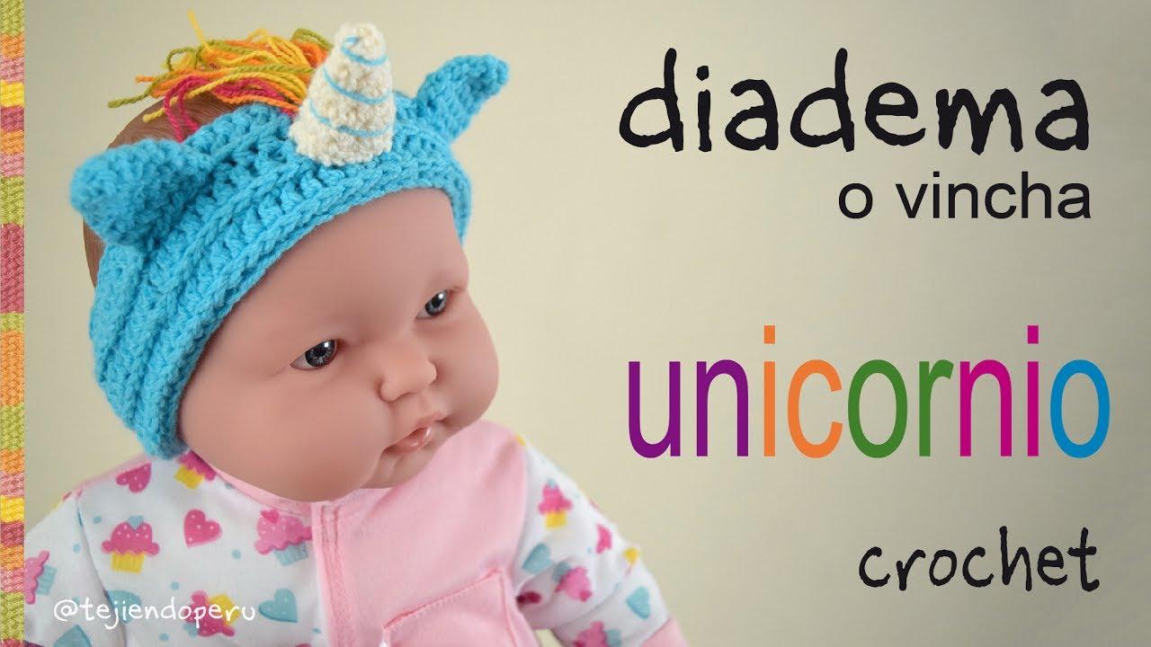 Diadema o vincha unicornio tejida a crochet en 5 tallas for Diademas para bebes de ganchillo