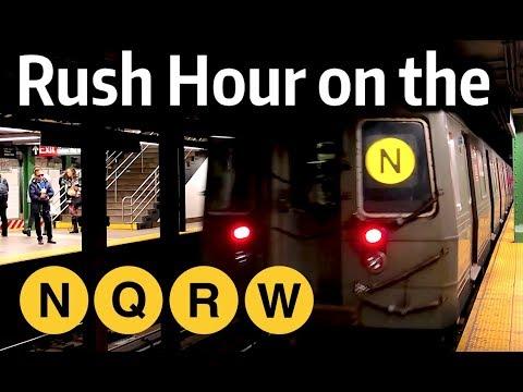 ⁴ᴷ Rush Hour on the N, Q, R, and W Lines at 14th Street - Union Square