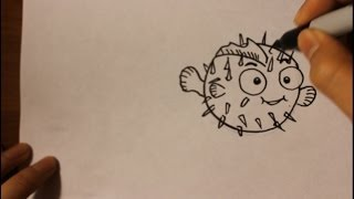 How to draw cartoon Puffer Fish| Easy Step By Step Drawing