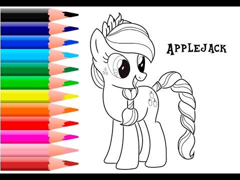 My Little Pony Coloring Pages For Kids Apple Jack Book MLP Video Art