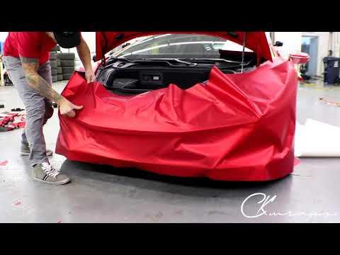 Lamborghini Huracan Front Bumper Vinyl Wrap In Satin Red Chrome