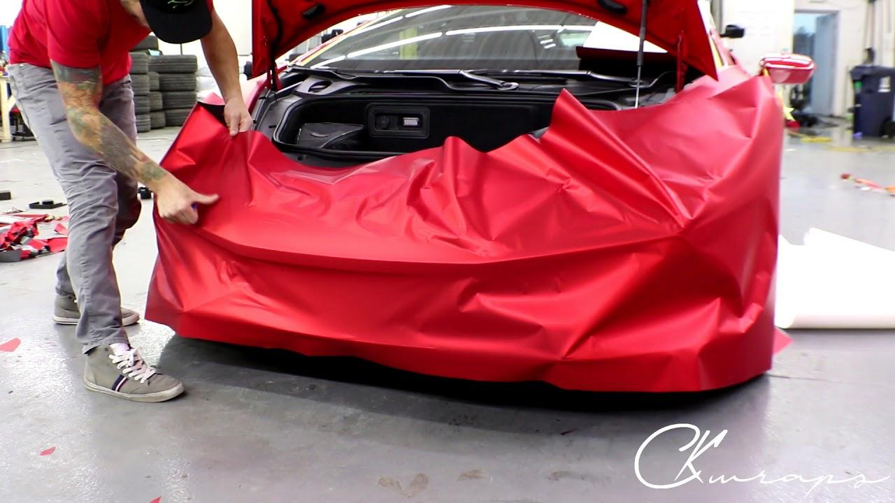 Lamborghini Huracan Front Bumper Vinyl Wrap In Satin Red