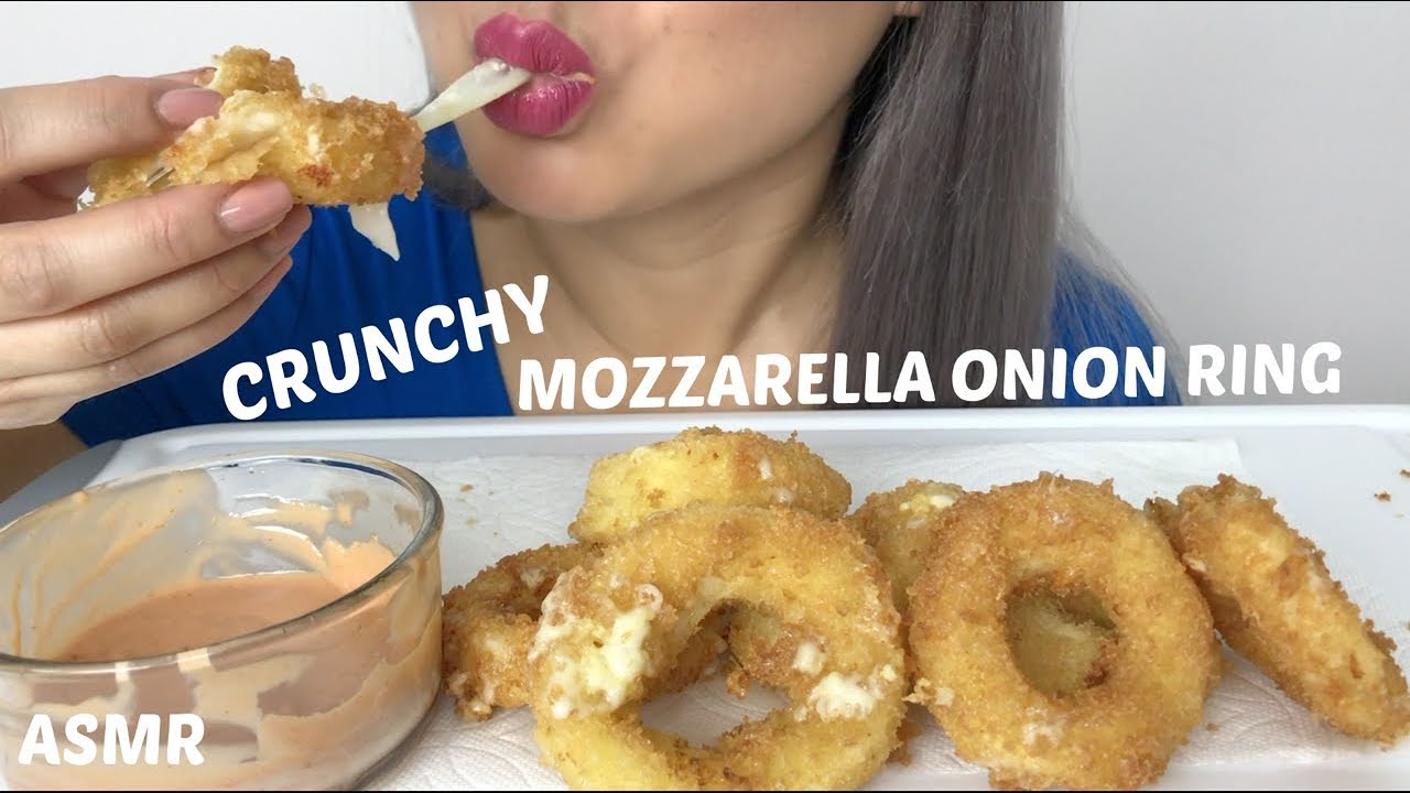 Crunchy Fried Mozzarella Onion Rings Cooking Asmr Eating Sounds N E Lets Eat
