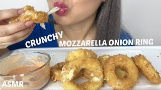 CRUNCHY FRIED MOZZARELLA ONION RINGS *COOKING | ASMR EATING SOUNDS | N.E LETS EAT