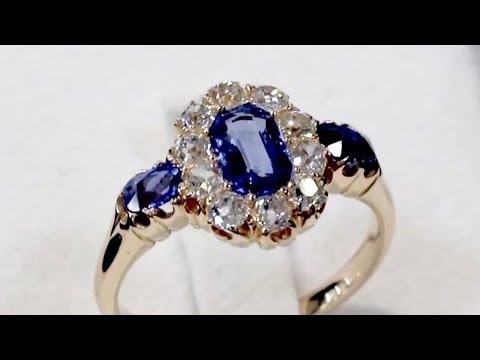 1.10 ct Sapphire and 0.60 ct diamond, 18 ct Yellow Gold Dress Ring - Antique Circa 1900 - A9108