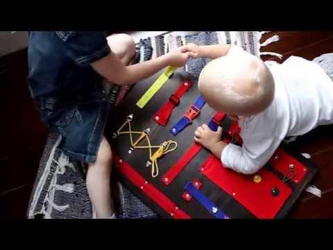 Развивающая игрушка детям. Доски Монтессори. Бизиборд.