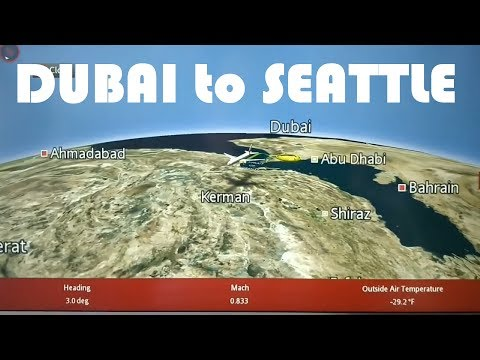 Emirates Voyager 3D map route animation - from Dubai to Seattle, WA