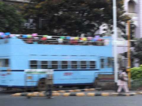 Blue Color Double Decker Bus On Mumbai Road.....