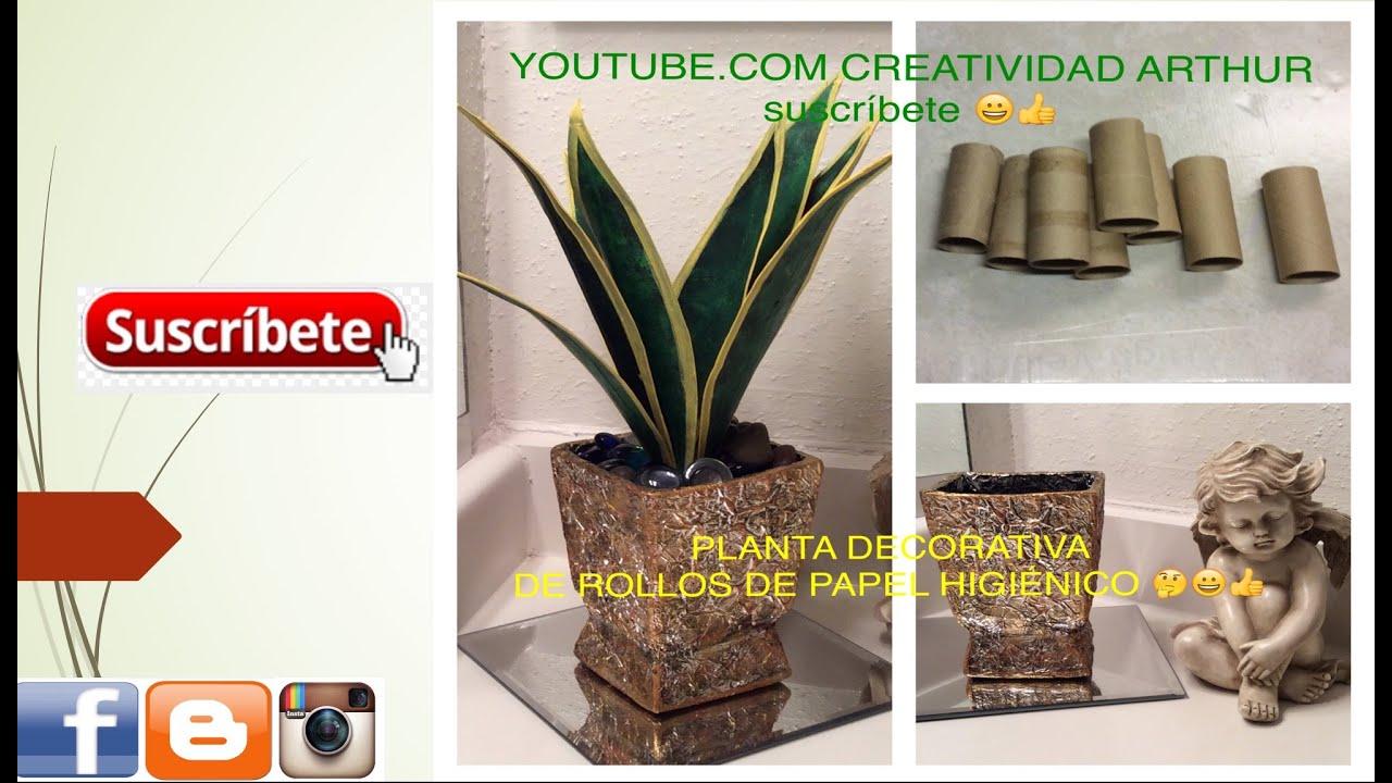 planta hecha con rollos de papel higinico YouTube