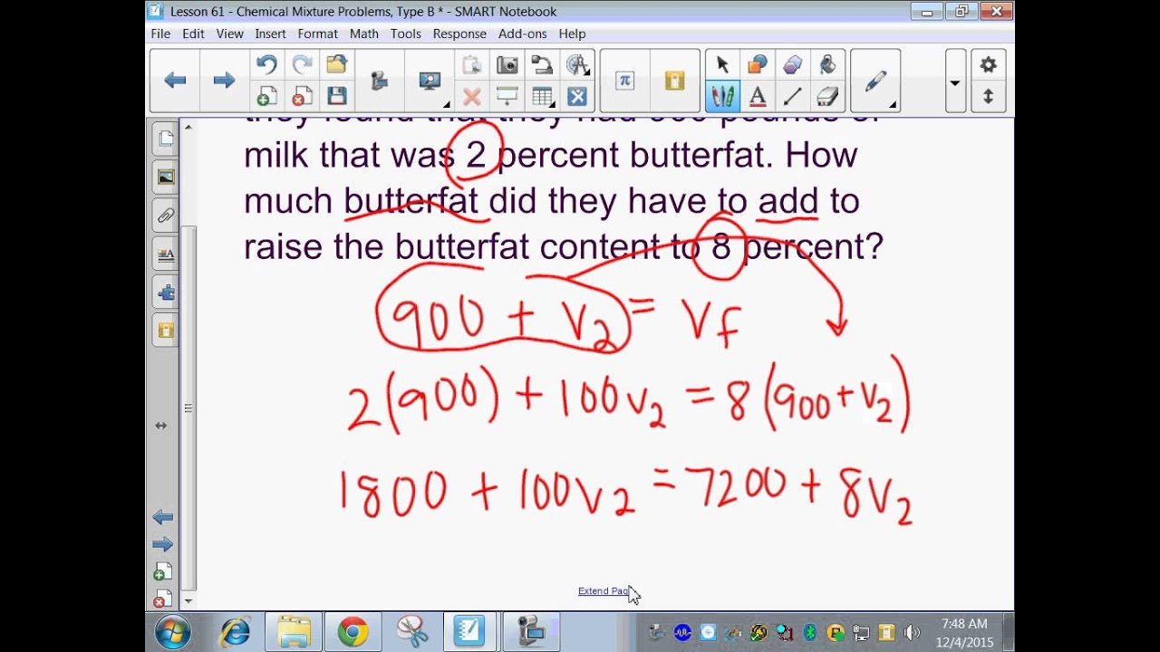 Saxon Algebra 2 Lesson 61 Chemical Mixture Problems Type B