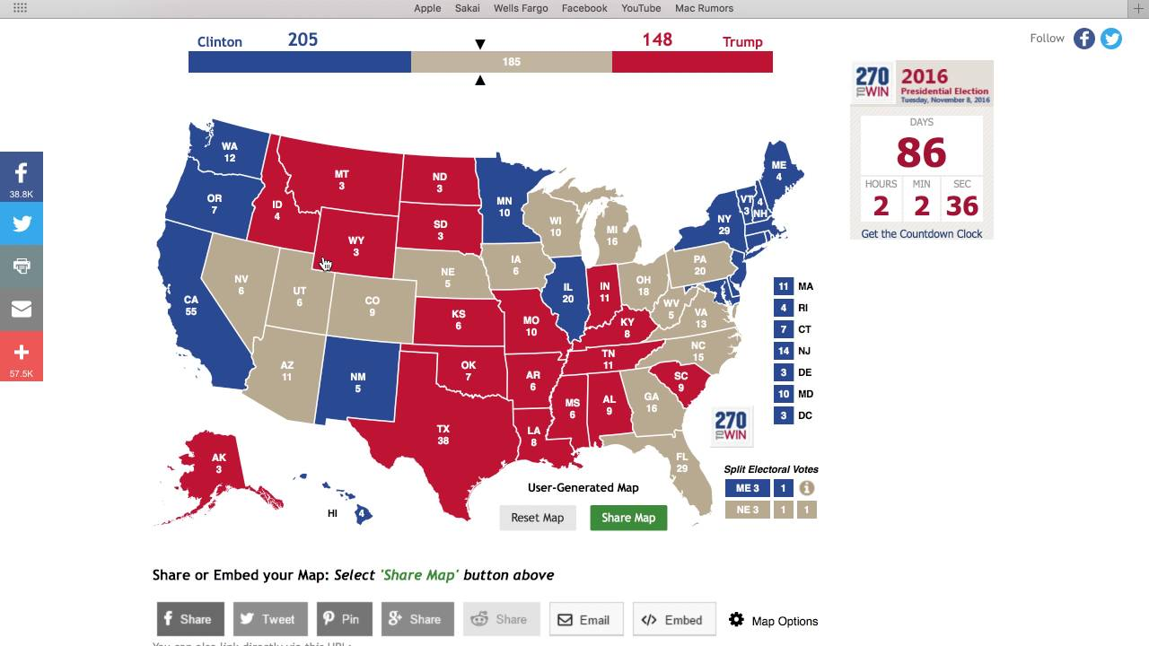 2016 Presidential Election - Electoral Map Prediction - YouTube