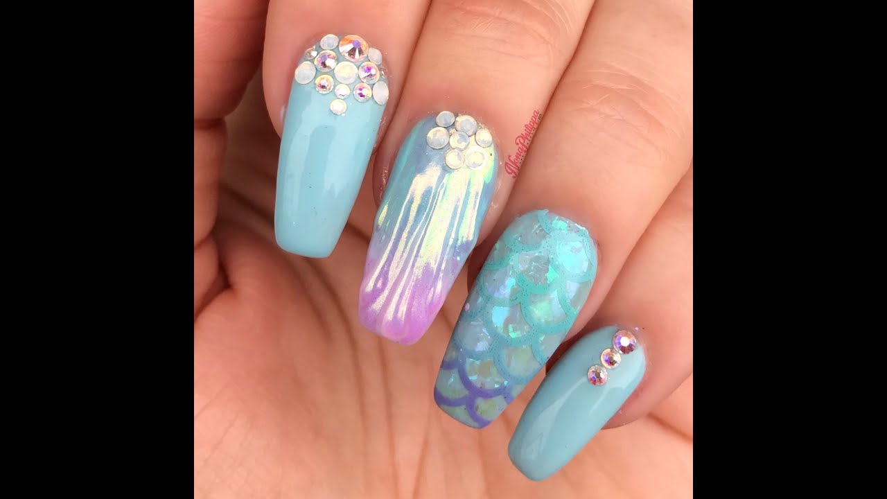 Mermaid Nails-3D Shell/Stamping Nail Art - Mermaid Nails-3D Shell/Stamping Nail Art - YouTube