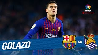 Great goal of coutinho (1-0) fc barcelona vs real sociedad