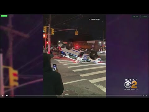 NYPD Vehicle Overturns In Brooklyn
