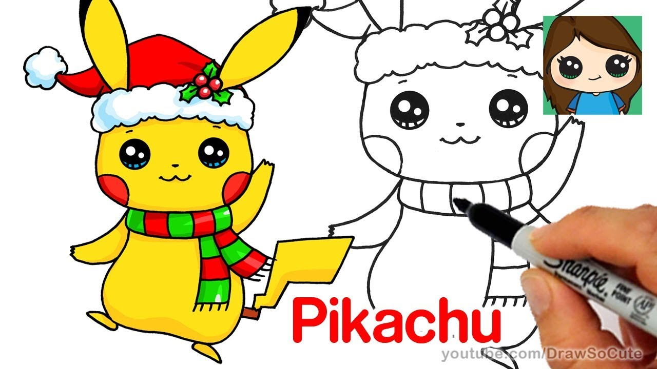 how to draw christmas pikachu easy pokemon - Christmas Pikachu