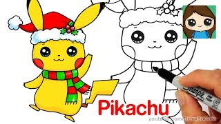 How to Draw Christmas Pikachu Easy | Pokemon
