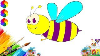Eh Bee Family Coloring Page - Drawing Bee- how to draw Colouring bee- learning for kids