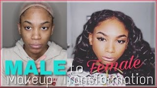 Male to Female - MAKEUP TRANSFORMATION || How TO SLAY A LACE FONTAL