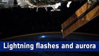 Horizons mission time-lapse – Lightning flashes and aurora
