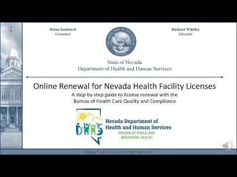 Online License Renewal Tutorial for Nevada Health Facilities