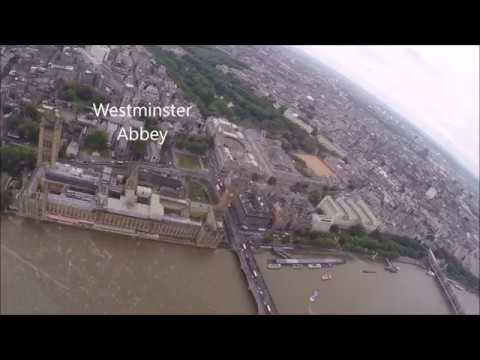 London Helicopter Sight seeing tour whole trip with landmarks tagged Full HD GoPro