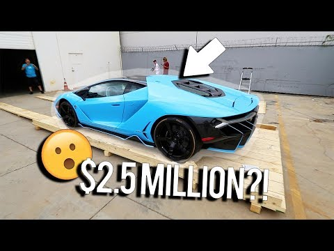 Unboxing a $2,500,000 baby blue Lamborghini Centenario?!!