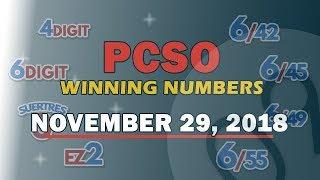 P15M Jackpot Grand Lotto 6/49, EZ2, Suertres, 4 Digit, & 6/42 Draw | November 29, 2018