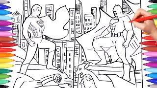 BATMAN vs SUPERMAN Superheroes Coloring Pages | Drawing and Coloring DC Superheroes | Justice League