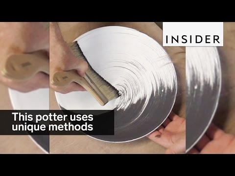 This artist uses unique methods to paint his pottery