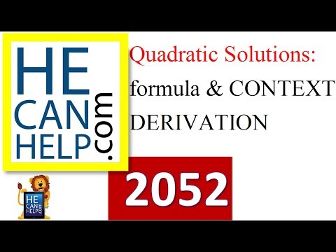 2052 {HECANHELP.COM USA} Quadratic Formula Derivation & Context Math GEORGE MATHEW