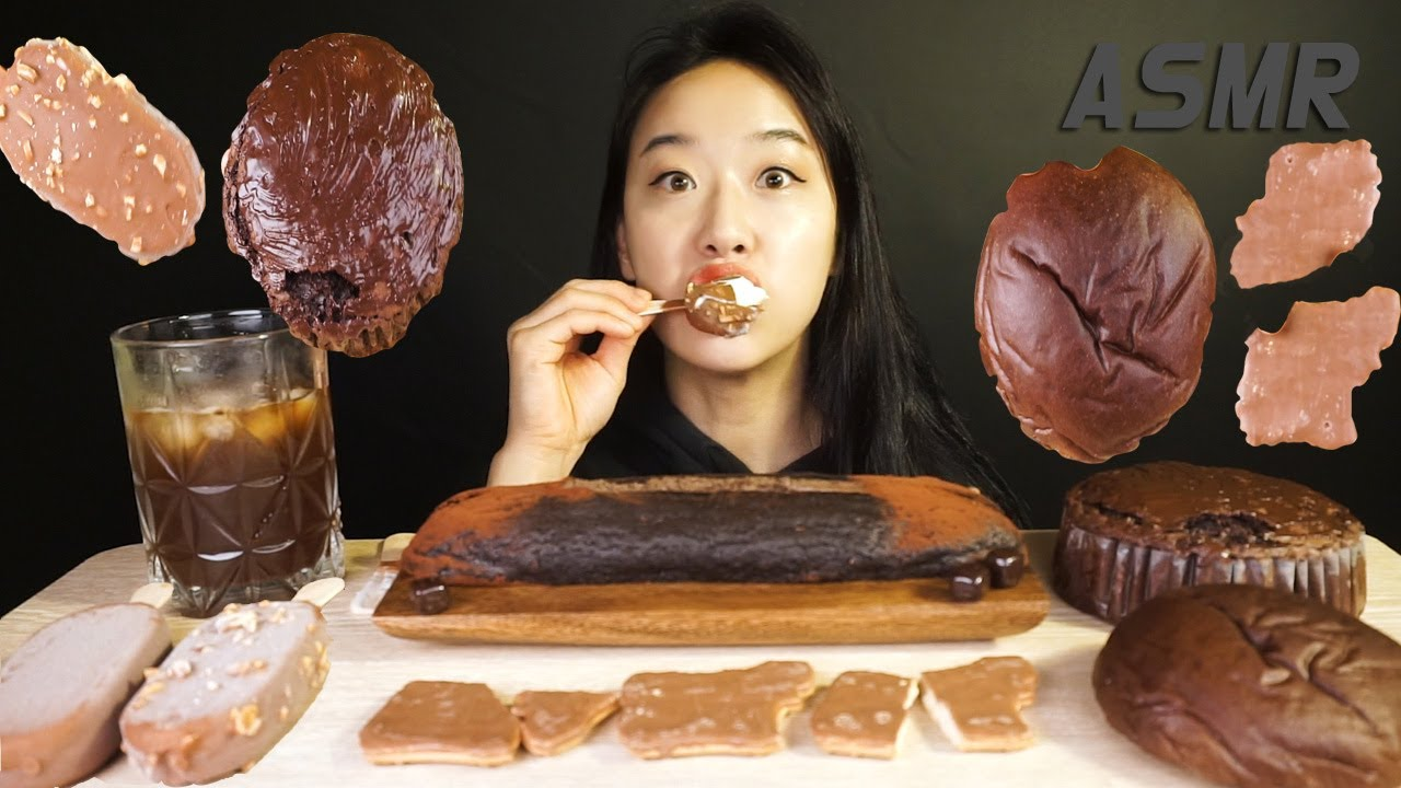 SUB) 초콜릿 빵 디저트먹방 CHOCOLATE BREAD DESSERT MUKBANG EATING SOUND チョコレート 巧克力 sô cô la ช็อคโกแลต