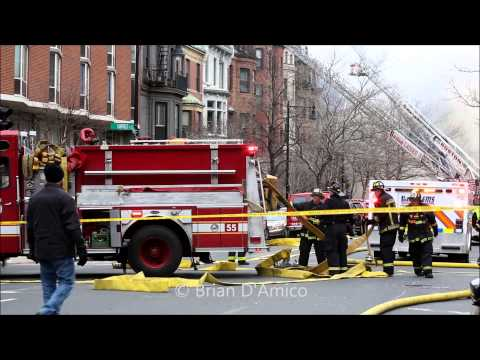 Boston MA - 9 Alarm Fire on Beacon Street Claims the Lives of Two Firefighters - 3/26/14