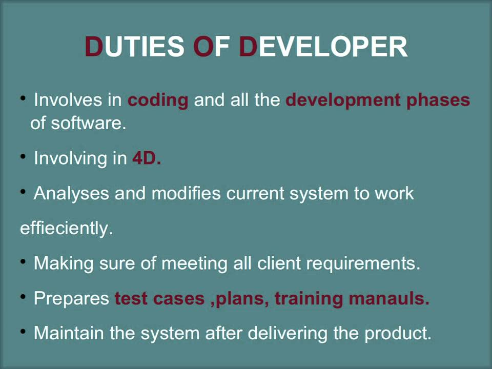 software developer duties. Resume Example. Resume CV Cover Letter